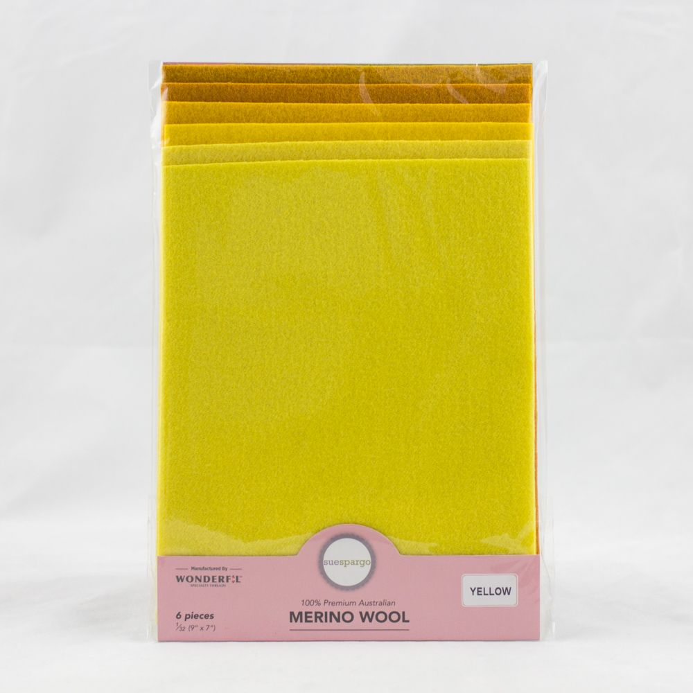 "Sue Spargo Wool Fabric - 1/32 Wool Fabric Pack - 9"" x 7"" - Yellow"