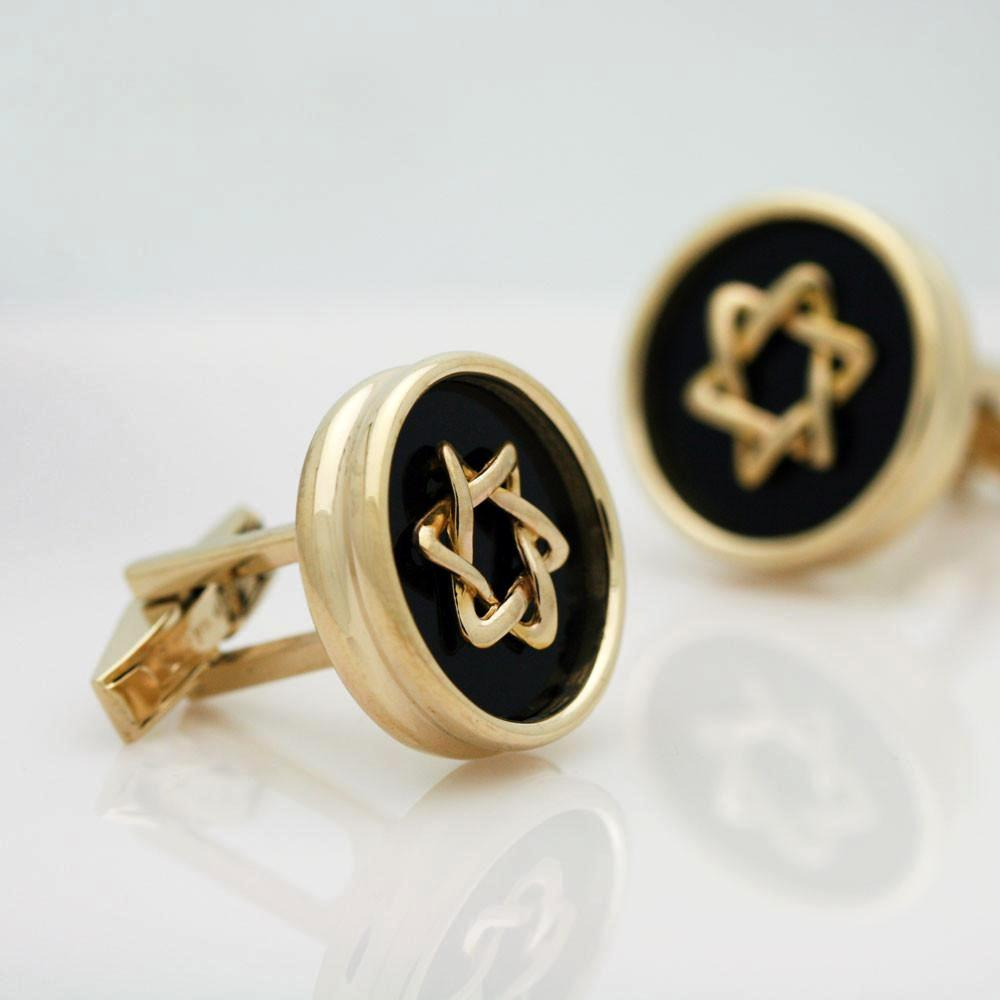 The Black and Gold Star of David Cufflinks