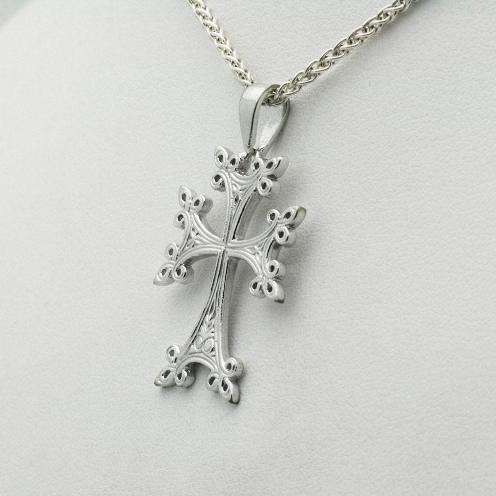 The Armenian White Gold Cross Pendant