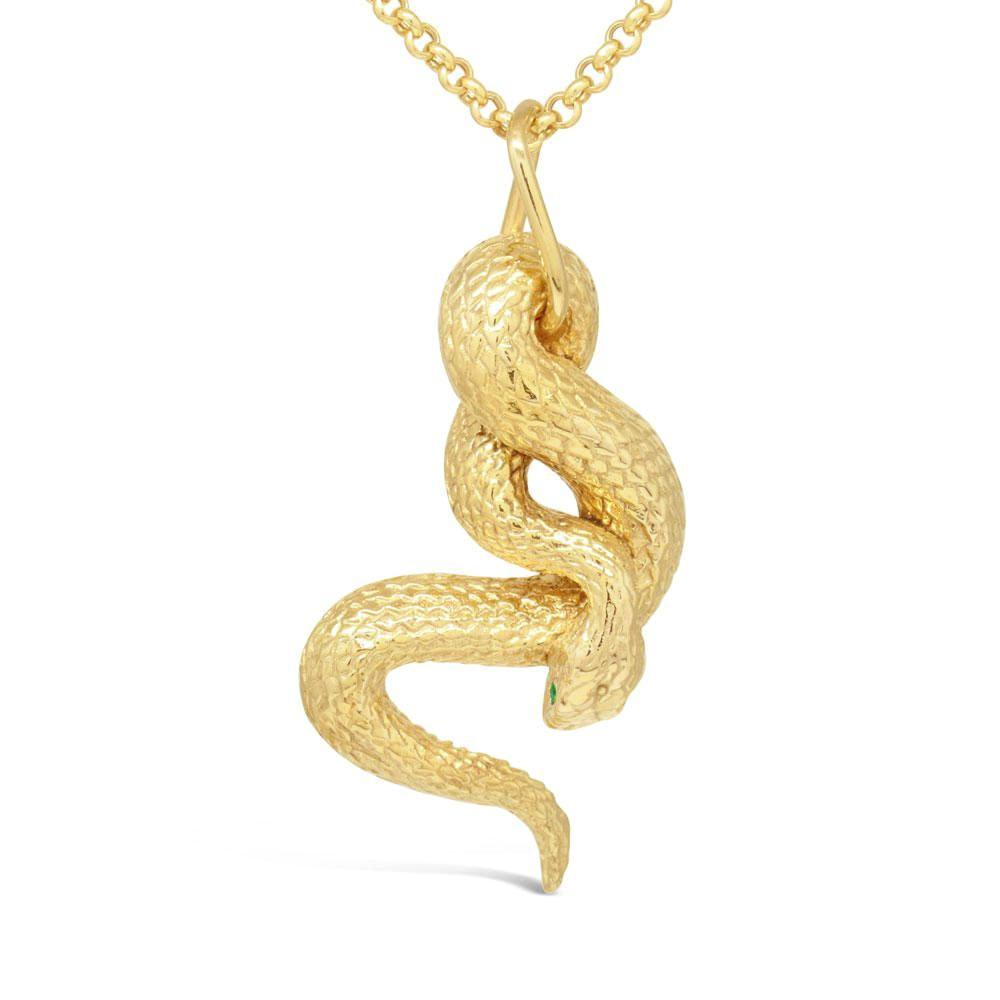 The yellow gold emerald snake pendant mava jewelry aloadofball Image collections
