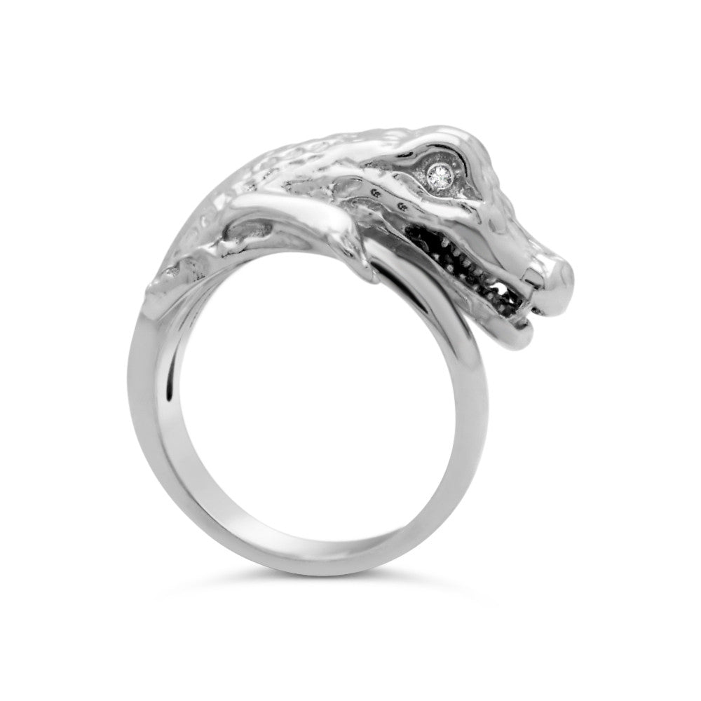 The Gleaming White Croc Ring