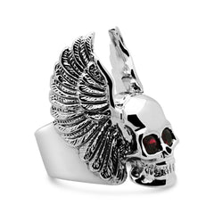 The Winged Ruby Skull Ring