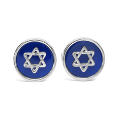 The Blue and Silver Star of David Cufflinks