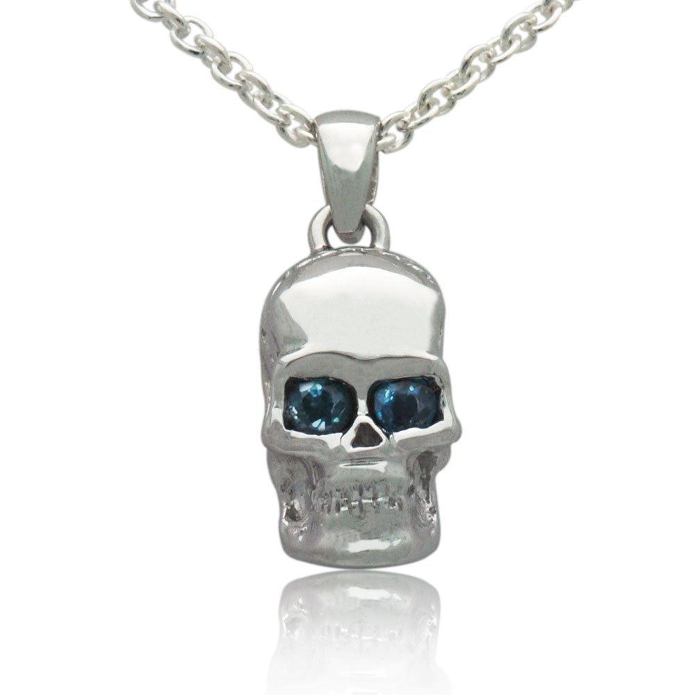 The sapphire skull sterling silver pendant mava jewelry mozeypictures Images