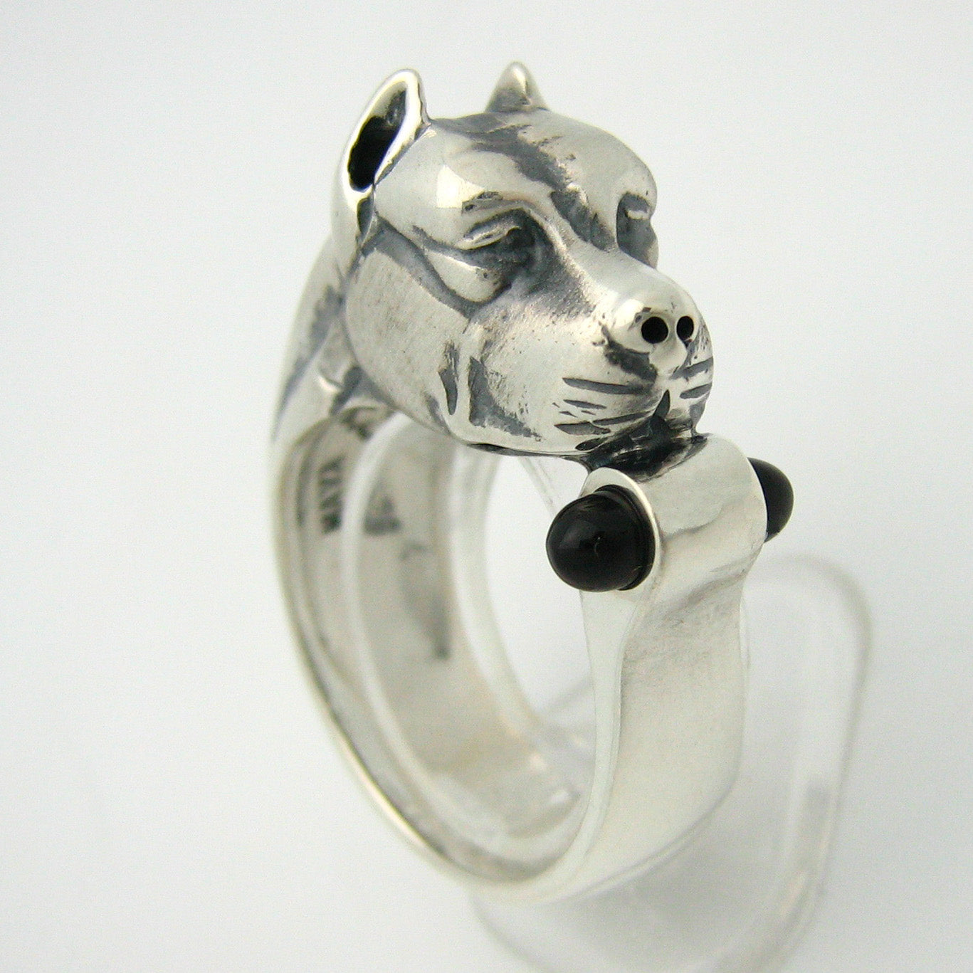 The Black and Silver Pitbull Ring