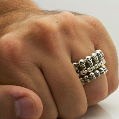 The Silver Circle of Skulls Ring