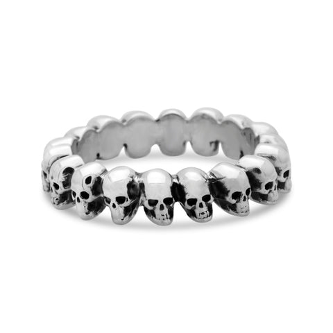 The Silver Mini Circle of Skulls Ring