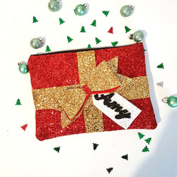 Christmas Present Glitter Clutch Bag - Gg's Pin-up Couture
