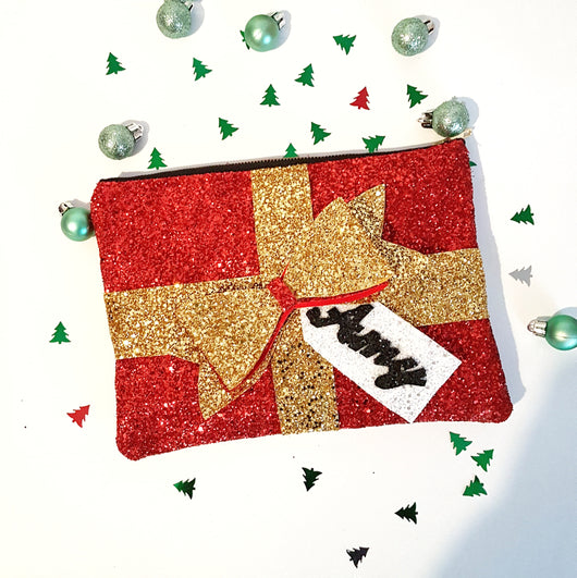 Christmas Present Glitter Clutch Bag