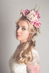 a vintage style bridal headpiece in pink and ivory