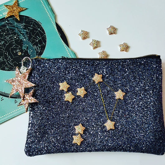 Glitter Constellation Zodiac Clutch Bag