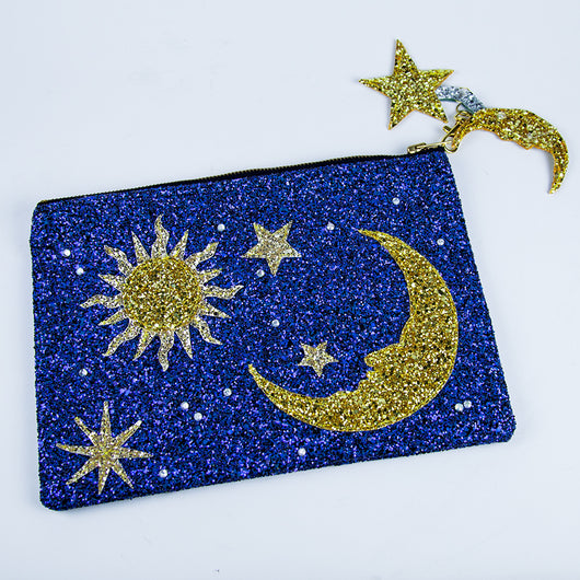 Sun Moon and Star Glitter Clutch