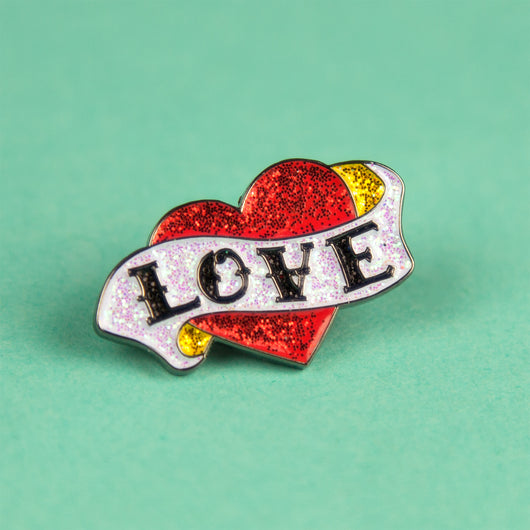 glitter enamel pin tattoo rockabilly retro vintage