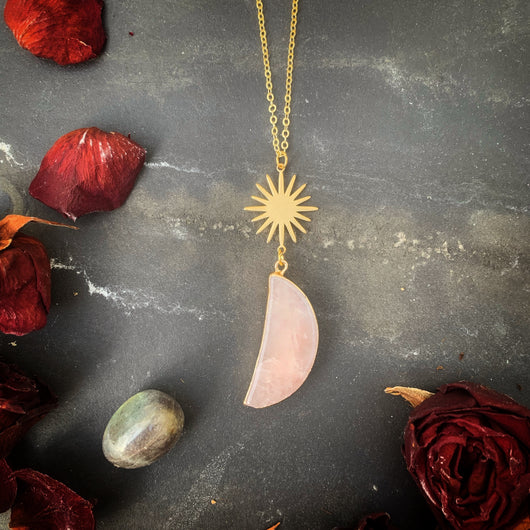 Rose Quartz Crescent Moon and Sun Pendant - Gg's Pin-up Couture