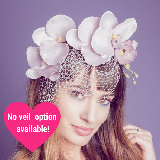 Veiled Orchid Cascade Fascinator - SOLD OUT - Gg's Pin-up Couture