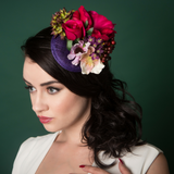 Fascinator in purple with flowers and berries