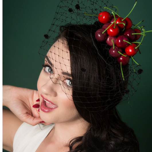 image of small vintage retro style fascinator with cherries