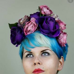 purple floral crown with pinks and lilacs