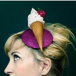 ice cream fascinator pink glitter and cherry