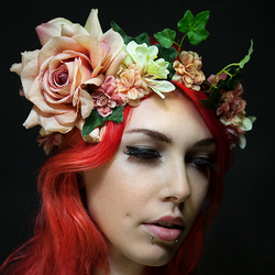 Pretty Bohemian Floral Crown in Peach