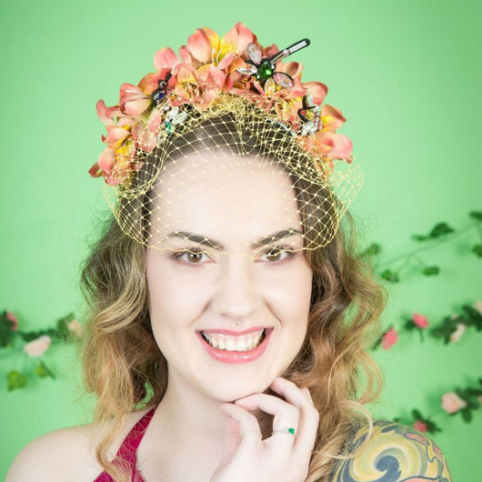 Jewelled Bug Veiled Crown - Gg's Pin-up Couture