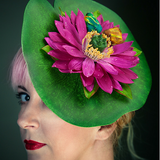 Quirky Pink Lily Pad Fascinator with Kissing Frogs