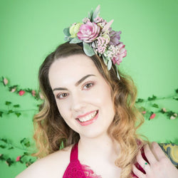 Pastel Succulent Fascinator - Gg's Pin-up Couture