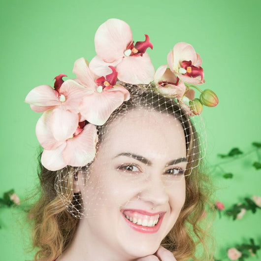Peach Orchid Cascade with Veil - Gg's Pin-up Couture