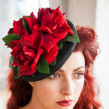 red roses hat fascinator