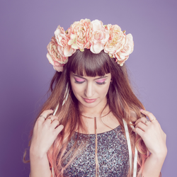 floral crown hairband in peach cream and pink