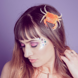 fun crab mermaid hair clip accessory on model
