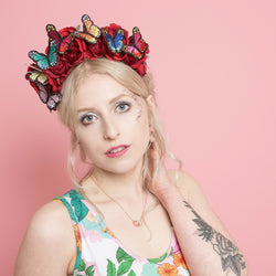 floral crown with rainbow butterflies and red roses