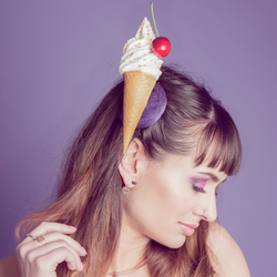 ice cream fascinator with a cherry