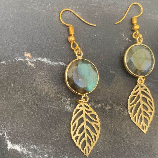 Labradorite Leaf Earrings - Gg's Pin-up Couture