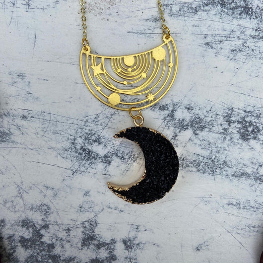 Quartz Druzy Crescent Moon and Galaxy Pendant - Gg's Pin-up Couture