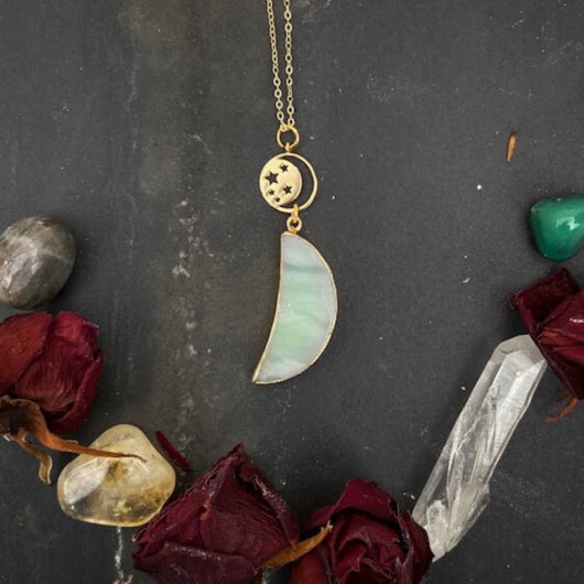 Celestial Moon and Aventurine Quartz Pendant - Gg's Pin-up Couture