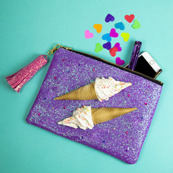 ice cream glitter bag with tassel for evening wedding