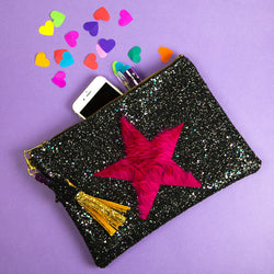 glitter star clutch handbag with pink faux fur