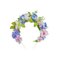 blue meadow floral crown in blues pinks and greens