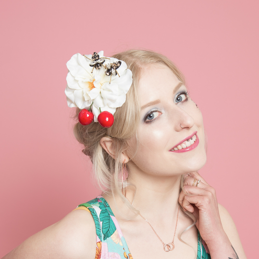 Cherry Bee Hair Flower - Gg's Pin-up Couture