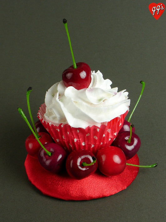 vintage style cherry cupcake cake fascinator hat