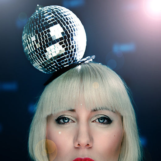 quirky disco ball fascinator hat