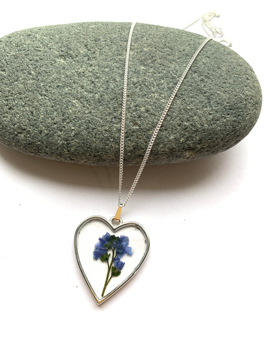 One Available - Heart Shaped Forget-Me-Not Pendant