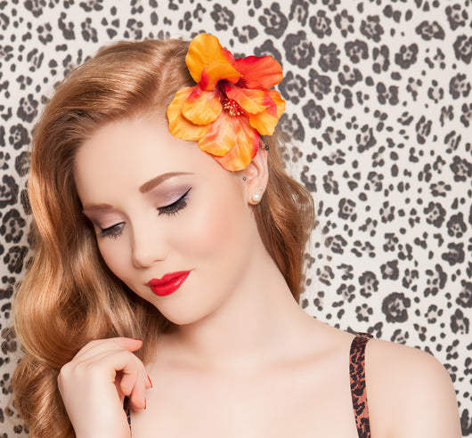 Tropical Hibiscus Hair Clip - Gg's Pin-up Couture
