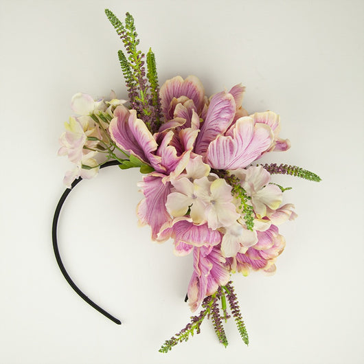 a pink floral headband crown in a vintage style