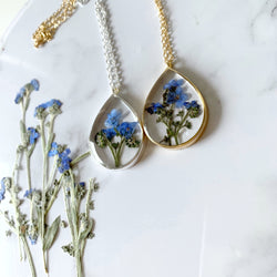 Large Forgetmenot Pendant in Gold or Silver - Gg's Pin-up Couture