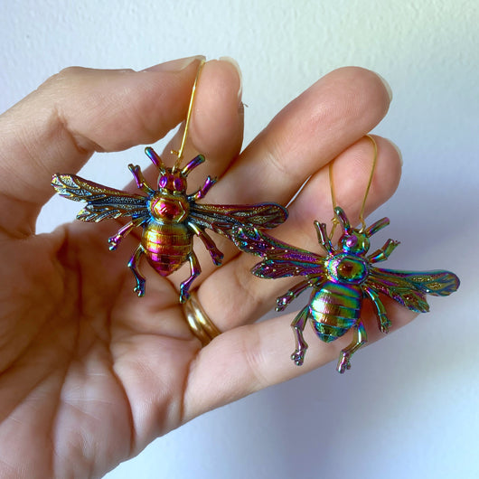 Rainbow Large Bee Earrings - Gg's Pin-up Couture