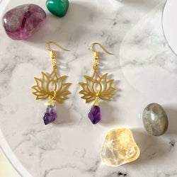 Lotus Amethyst Crystal Earrings - Gg's Pin-up Couture