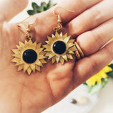 Sunflower Earrings with Onyx - Gg's Pin-up Couture