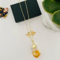 Citrine Stone Necklace with Bee charms